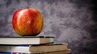 teacher, apple, school