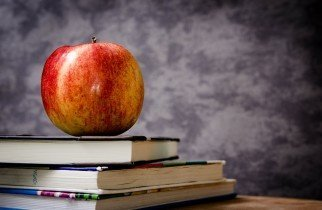 teacher, apple, school