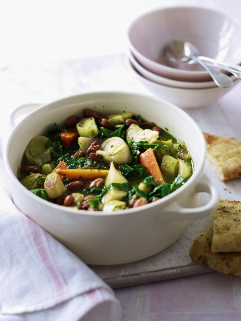 Spring Veg Casserole with Garlic Bread