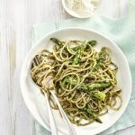 Recipe: Chargrilled asparagus with spaghetti & pesto
