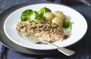 Baked Salmon With Thyme & Lemon Oat Crust