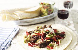 Simple steak fajitas with avocado salsa