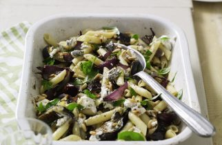 roasted-aubergine-and-goats-cheese-pasta