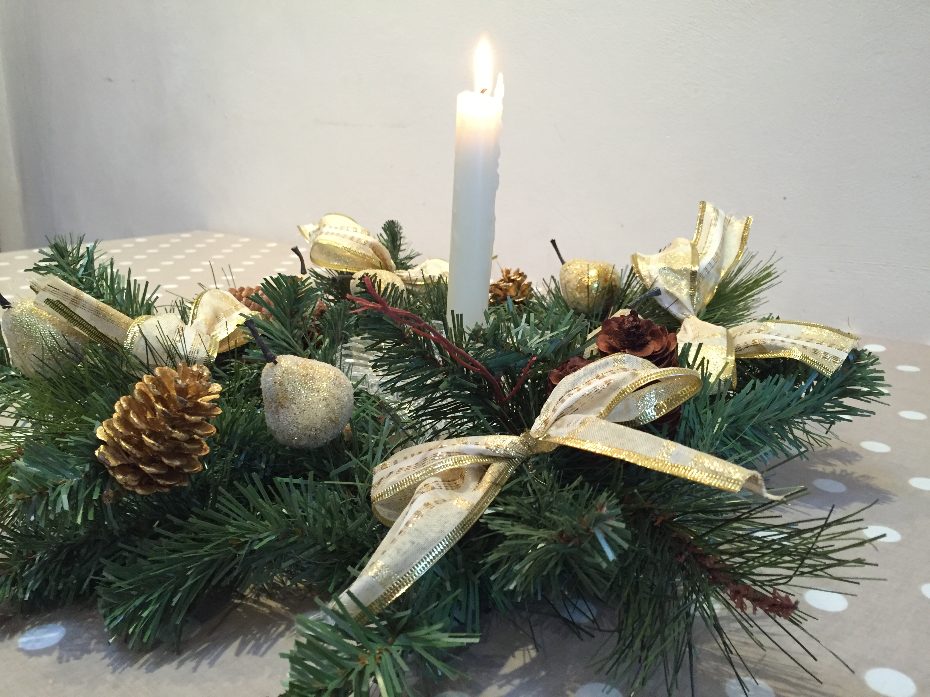Wreath into centrepiece