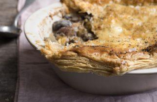 Creamy mushroom, leek and chestnut pie