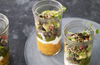 Layered lentil & sweet potato jars