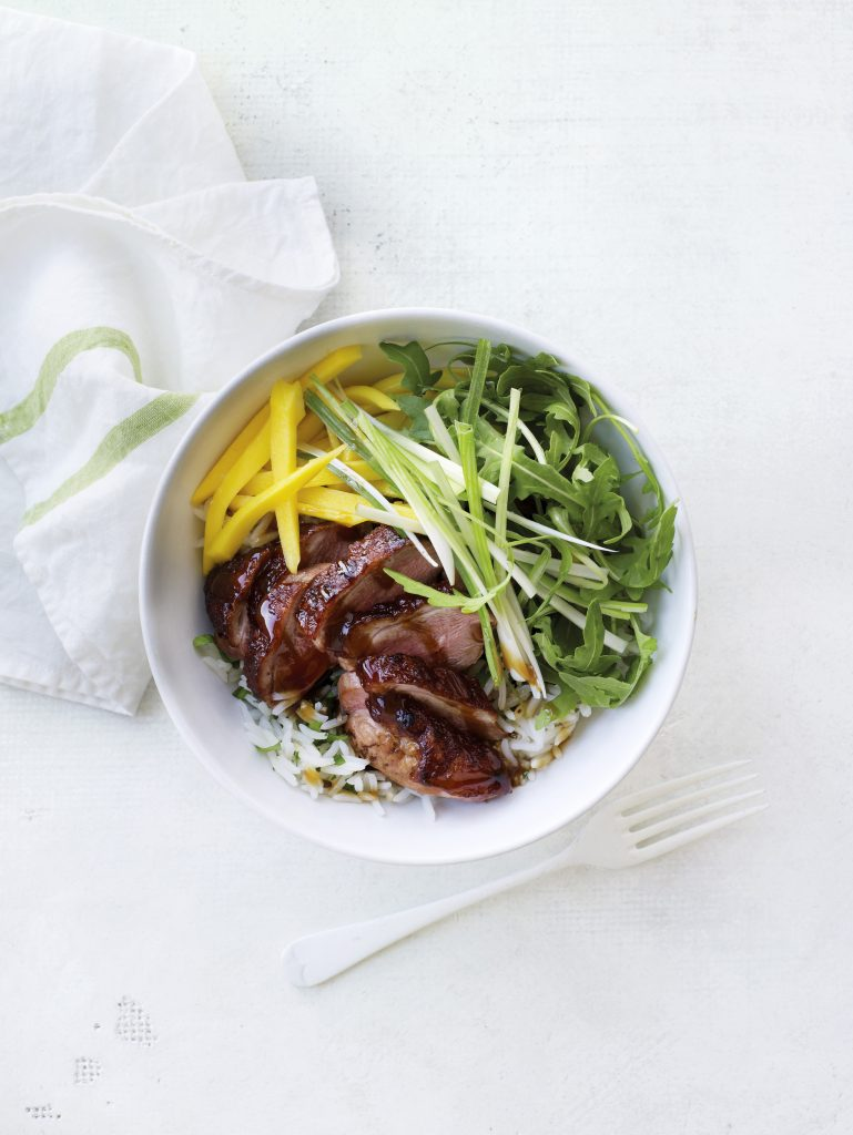 Hoisin duck, mango & wild rice bowls