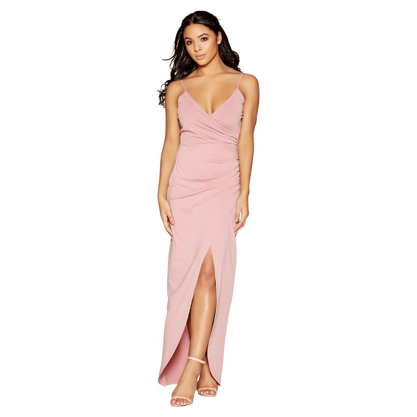 Mauve Strap Wrap Front Maxi Dress